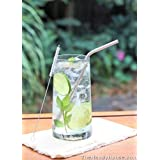 The Handy House Stainless Steel Drinking Straws With Cleaner (Set Of 4), Silver