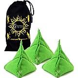 3x Tri It Juggling Balls Set Of 3 Pyramid Juggling Sacks, Bean Bags For Kids & Adults +Fabric Travel Bag. (Green)