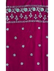 Exotic India Byzantium-Purple Salwar Kameez Fabric With Ari Embroidered - Purple