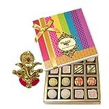 Chocholik Belgium Chocolates - Desert Lovers Chocolate And Truffle Gift Box With Ganesha Idol - Diwali Gifts