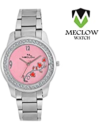 Latest Design Silver Metal Strap Watch, Round Diamond Beaded Pink Dial Analog Watch For Girls, Ladies And Womens...