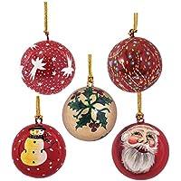 Mehra Bros Paper Machie Christmas Balls Ornament Hanging (set Of 5) Combo 2