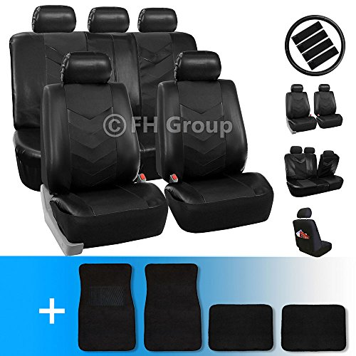 FH-PU021115 Synthetic Leather Full Combo Set Auto Seat Covers with Seatbelt Pads, Steering Wheel Cover and Floor Mats Solid Black – Fit Most Car, Truck, Suv, or Van