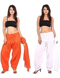 TEEJ New Women's Solid Cotton Punjabi Patiala Salwar With Dupatta Combo Offer Of 02 Pcs