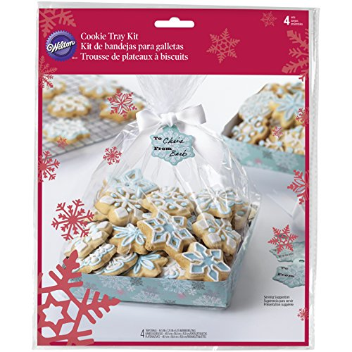 Wilton Cool Blue Christmas Cookie Tray Gifting Kit, 4-Pack