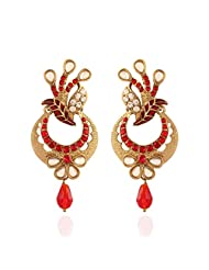 I Jewels Traditional Gold Plated Kundan & Stone Earrings With Meenakari Work For Women E2257R (Red)