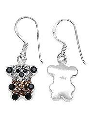 1.50 Grams Black, Brown & White Crystal .925 Sterling Silver Earrings