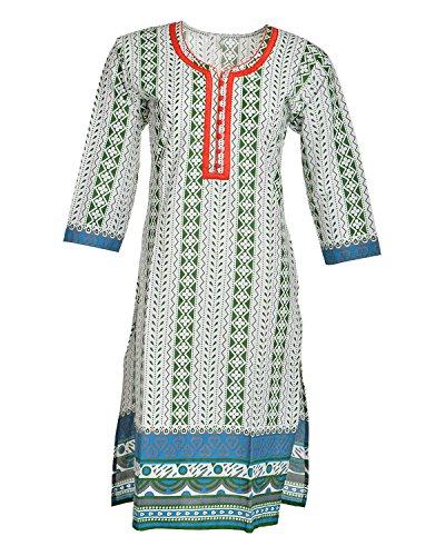 Global Women's Cotton Straight Kurta (GW65Whitep40015, Multi, 40)