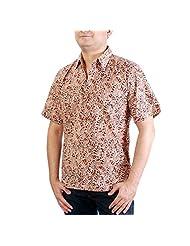 Viniyog Men's Regular Fit Cotton Hand Block Printed Kalamkari Shirt (Multi-Coloured)