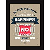 Poster With Frames For Living Room And Home Decoration - Quotes On Life - Action & Happiness