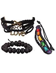 Jstarmart Leather Love Wrist Band Combo Wrist Band For Men