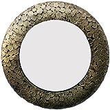 Divraya Wood Brass Plated Round Wall Mirror (45.72 Cm X 4 Cm X 45.72 Cm, Metallic)