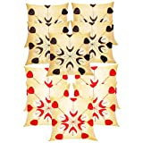 Laser Leaves Embroidery Cushion Covers Combo Beige 40 X 40 Cms(10 Pcs Set)