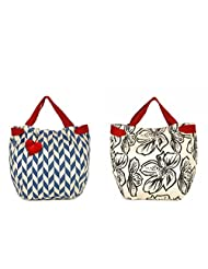 Pick Pocket Combo Of Ecru With Blue Printed And Heart Shaped Tassel Canvas Jholi Bag With Ecru With Black Printed...