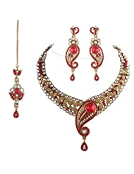 I Jewels Traditional Gold Plated Peacock Shaped Kundan Necklace Set With Maang Tikka For Women