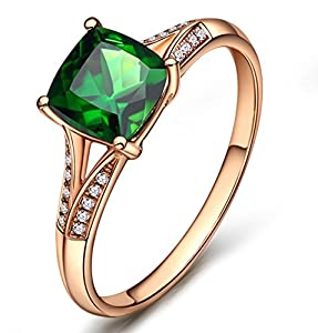 1 Carat cushion cut Emerald and Diamond Engagement Ring in Rose Gold