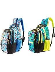 GLEAM Trendy Multicolour School Bag ( Sky Blue & Green ) Set Of 2 Bags