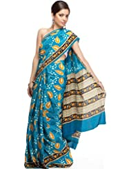 Exotic India Blue Suryani Sari From Mysore With Printed Leaves - Blue