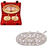 Silver & Gold Plated 2 Heavy Square Bowl With Spoon And Tray And Silver Plated 6 Square Bowl With Spoon And Tray