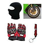 Combo Pack For Pro Biker Gloves Red-XXL + Rim Sticker-Yellow & Face Mask With Key Chain