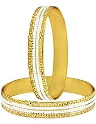 The Jewelbox Wedding Traditional 22k Gold Plated Rhodium Metal Chuda Kada Bangle Set Of 2 For Women - B01IQY0YV6