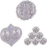GS MUSEUM Silver Plated Rani Kumkum Plate, Silver Plated Pan Kumkum Plate And Silver Plated Set Of 6 Lotus Incense...