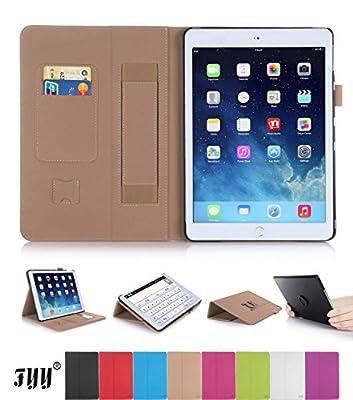 iPad 6(iPad Air 2) ケース,Fyy® iPad 6(iPad Air 2)専用PUレザーケース 高品質 スリムケース ペンホルダ/オートスリープ/スタンド機能付き マグネット開閉式 カーキ【全9色】