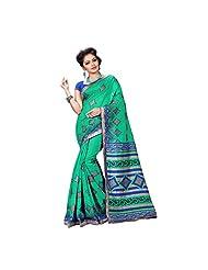 Green And Blue Spun Silk Party Wear Saree