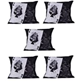 MeSleep Digitally Printed Ace Playing Card 5 Piece Cushion Cover Set - Black And White