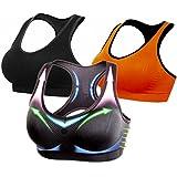 BRABIC Women Sports Bras Pullover Padded High Impact Support Seamless Pack Of 3 BlackGreyOrange Medium