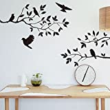 Amaonm® Removable Vinyl Diy Nursery Black Birds And Tree Vine Foliage Wall Decals Wall Sticker Murals Wall Deocrative...