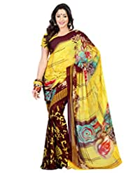 Admyrin Brown And Yellow Printed Saree With Yellow Blouse Piece