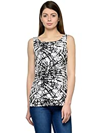 Black Web Print Crepe Top