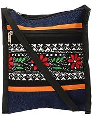 Shanti Niketan Home Made Products Women's Sling Bag (Blue And Black, SNHMP18)