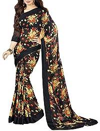 Nirjas Designer Women's Chiffon Saree With Blouse Piece(aishablack Saree Below_500)