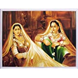 """Dolls Of India """"Princess And The Maid"""" Reprint On Paper - Unframed (45.72 X 34.92 Centimeters)"""