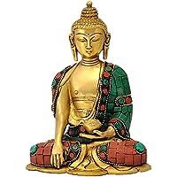 AONE INDIA God Gautam Buddha Brass Statue Sitting Position + Cash Envelope (Pack Of 10)