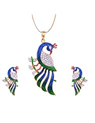Jewelshub Gold & Silver Gold Plated Pendant Set For Women - B00XCY0J6Q