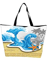 Snoogg Vector Summer Background With Waves Waterproof Bag Made Of High Strength Nylon - B01I1KI336