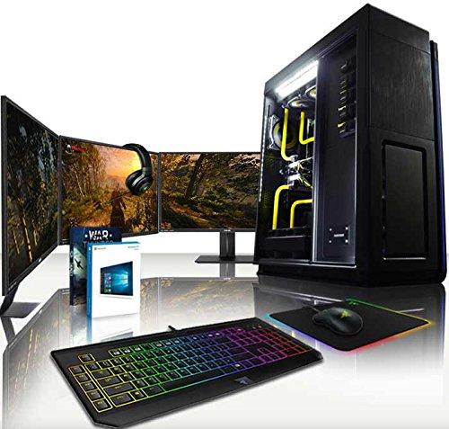 """VIBOX Legend Komplett-PC Paket - 4,5GHz Intel i7 6-Core CPU, 2x GTX 1070, leistungsfähig, Wassergekühlter Desktop Gamer Computer mit Exklusiv WarThunder Spiel Gutschein, 3x Dreifach 27"""" Monitor, Gamer Tastatur, Chroma Mouse, Windows 10, lebenslange Garantie* (4,5GHz übertakteter Superschneller Intel i7 6850K Sechs 6-Core Prozessor CPU, 2x Dual SLI Nvidia GeForce GTX 1070 8GB Grafikkarten, 32GB DDR4 3000MHz RAM, 500GB SSD, 3TB Festplatte, maßgeschneiderten Wasserkühler, Phanteks Gehäuse)"""