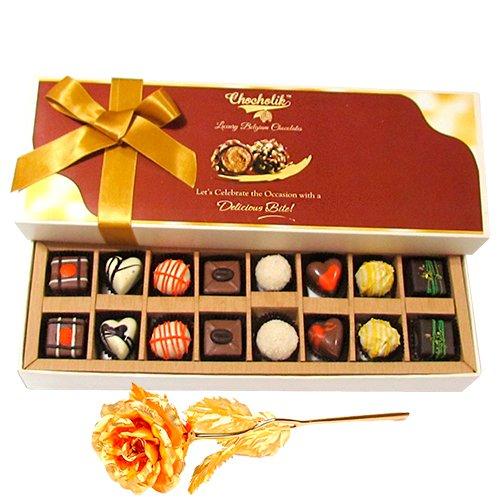 Heavenly Chocolate Treat With 24k Gold Plated Rose - Chocholik Belgium Chocolates