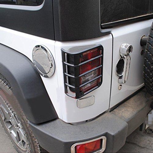 Opar Black Rear Euro Tail Light Guard for 2007-2015 Jeep Wrangler – Pair
