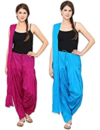 Mango People Products Patiala Salwars And Dupatta Set Combo(Free Size,Rani Pink & Sky Blue By Mango People Products)