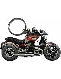 Techpro Double-Sided Royal Enfield Bike Model Rubber Keychain (Multi-Color)