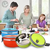 Single Layer Thermal Insulated Round Stainless Steel Lunch Box Tiffin Warm Fresh Food Container With Handle For...