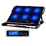 Enfriador portátil, mudo estupendo 6 Fans ordenador portátil del cuaderno del ventilador Base Plate Laptop Cooling Base Pad CPU Coolers Radiadores rack para PC de enfriamiento, Macbook Laptop Notebook (Volver)