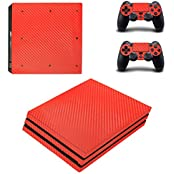 Hytech Plus Red Carbon Fiber Theme Sticker For PS4 PRO Console & 2 Controllers