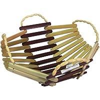 Desi Karigar Wooden Bamboo Fruit & Vegetable Basket With Handle Buy 1 Get 1 Free