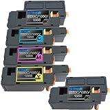 1 Pack + 1 Black Of Total 5 Replacement Toner Cartridges For Dell 1250c BK/C/M/Y Toner Cartridges Replacement...