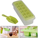 HOME CUBE® 12 Big Cubes Plastic Ice Tray With Storage Box + Spoon ( Shovel ) + Transparent Cover Lid (Random Colors)